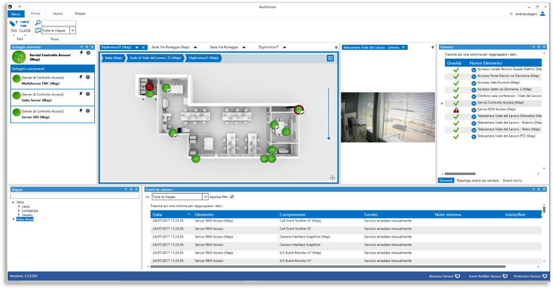 Digitronica.IT MultiVision per monitoraggio sistema ed eventi di allarme
